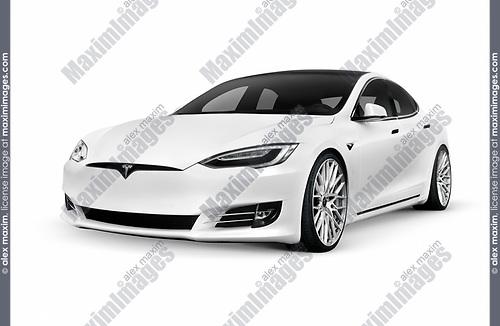 Tesla Model S White Luxury Electric Car Fashion Commercial Fine