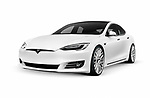 2018 Tesla Model S, white luxury electric car isolated on white studio background with a clipping path