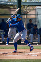 Chicago Cubs third baseman Wladimir Galindo (19) during a Minor League Spring Training game against the Oakland Athletics at Sloan Park on March 19, 2018 in Mesa, Arizona. (Zachary Lucy/Four Seam Images)