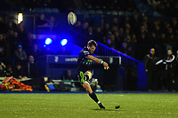 Peter Horne of Glasgow Warriors kicks a conversion during the Guinness Pro14 Round 15 match between the Cardiff Blues and Glasgow Warriors at Cardiff Arms Park in Cardiff, Wales, UK.  Saturday 16 February 2018