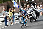 Guy Niv (ISR) Israel Cycling Academy from the breakaway group out front during Stage 2 of the 101st edition of the Giro d'Italia 2018 running 167km from Haifa to Tel Aviv, Israel. 5th May 2018.<br /> Picture: LaPresse/Fabio Ferrari | Cyclefile<br /> <br /> <br /> All photos usage must carry mandatory copyright credit (&copy; Cyclefile | LaPresse/Fabio Ferrari)