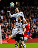 Derby County's forward Tom Lawrence (10) leaps highest during the Sky Bet Championship match between Nottingham Forest and Derby County at the City Ground, Nottingham, England on 10 March 2018. Photo by Stephen Buckley / PRiME Media Images.