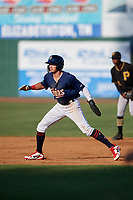 Elizabethton Twins center fielder DaShawn Keirsey (8) leads off second base during a game against the Bristol Pirates on July 28, 2018 at Joe O'Brien Field in Elizabethton, Tennessee.  Elizabethton defeated Bristol 5-0.  (Mike Janes/Four Seam Images)