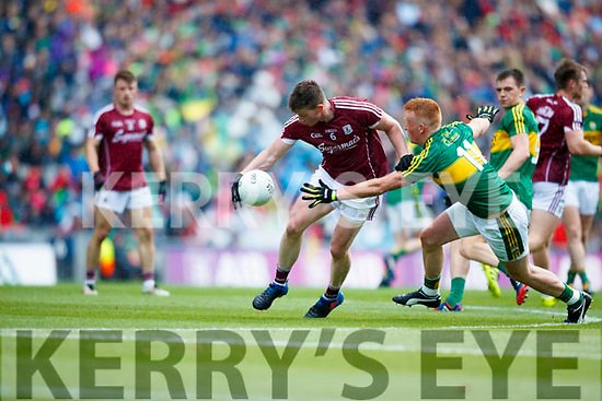 Johnny Buckley Kerry in action against Gareth Bradshaw Galway in the All Ireland Senior Football Quarter Final at Croke Park on Sunday.