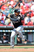 Miami Marlins second baseman Donovan Solano #17 during a game against the Cincinnati Reds at Great American Ball Park on April 20, 2013 in Cincinnati, Ohio.  Cincinnati defeated Miami 3-2 in 13 innings.  (Mike Janes/Four Seam Images)