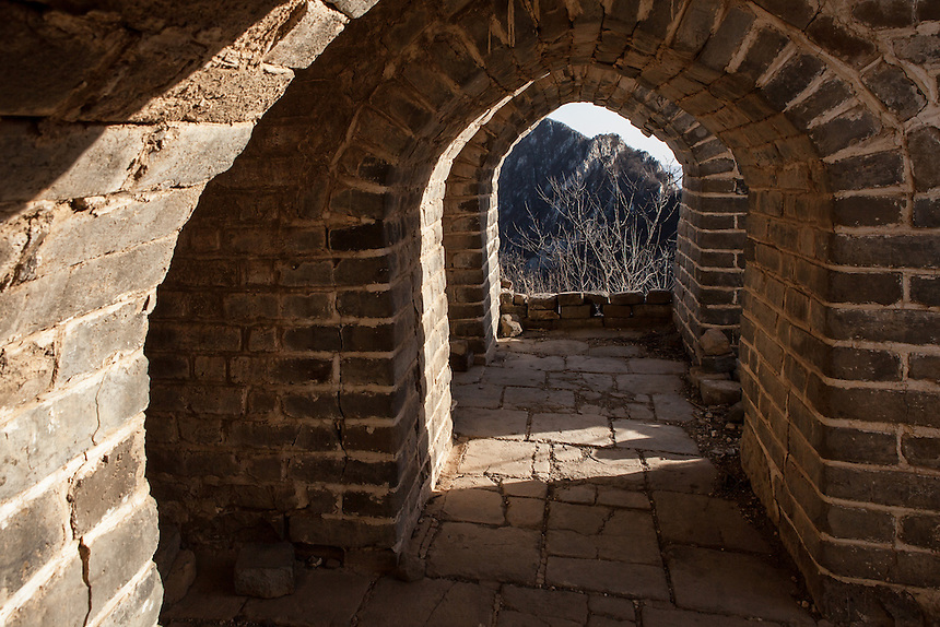 """The interior of a crumbling tower at Jiankou Great Wall. Jiankou, which translated as """"arrow nock"""" is one of the most dangerous part of the Great Wall of China. However, at the same time, it is also arguably one of the most beautiful."""