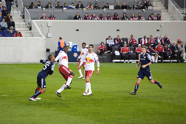 Darrius Barnes, Salou Ibrahim, Juan Pablo Angel, and Jason Griffiths during the New York Red Bulls final match of the season against the New England Revolution at Red Bull Arena in Harrison, New Jersey on 21 October 2010.