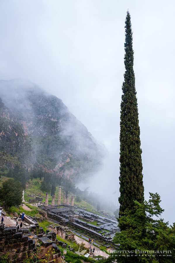 Delphi, Greece. In Greek mythology the site of the Delphic oracle. Temple of Apollo.