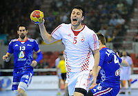 Domagoj Duvnjak shoots on goal during the match against France
