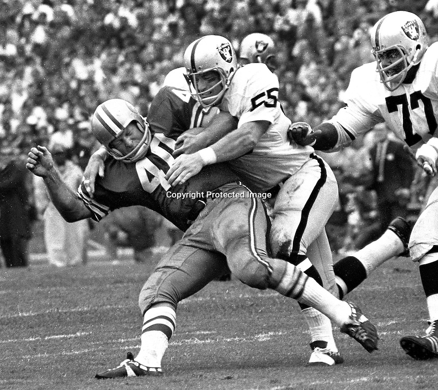 Oakland Raiders Dan Conners and Ike Lassiter dump San Francisco 49er #40 (photo/Ron Riesterer)