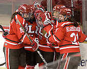 Mel Desrochers (SLU - 18), Amanda Boulier (SLU - 8), Ellie Williams (SLU - 24), Vanessa Emond (SLU - 14) and Bailey Habscheid (SLU - 21) celebrate Williams' goal. - The Boston College Eagles defeated the visiting St. Lawrence University Saints 6-3 (EN) in their NCAA Quarterfinal match on Saturday, March 10, 2012, at Kelley Rink in Conte Forum in Chestnut Hill, Massachusetts.