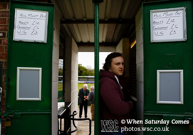 Price list on the turnstiles, Adults £12, Concessions £6, under 16 £3. Vanarama National League North, Promotion Final, North Ferriby United v FC Fylde, 14th May 2016.