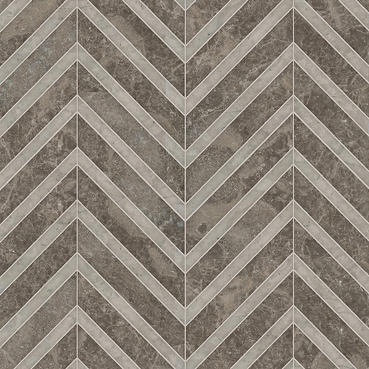 Rene, a hand-cut stone mosaic, shown in polished Kehena and honed Palomar, is part of the Semplice® collection for New Ravenna.