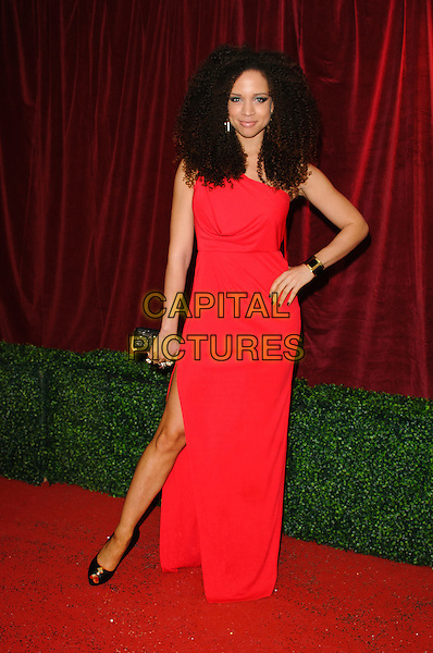 Natalie Gumede.British Soap Awards 2012, The London Television Centre, London, England..28th April 2012.full length hand on hip slit split black red dress clutch bag .CAP/CJ.©Chris Joseph/Capital Pictures.
