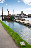 Henley on Thames. United Kingdom.   2018 Henley Royal Regatta, Henley Reach. <br />   <br /> Course Construction Course Pilling Barge, Moored, and the 1903 Olympic finish line plaque.<br /> <br /> Wednesday  25/04/2018<br /> <br /> [Mandatory Credit: Peter SPURRIER:Intersport Images]<br /> <br /> LEICA CAMERA AG  LEICA Q (Typ 116)  f5.6  1/800sec  35mm  42.5MB