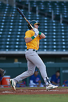 AZL Athletics Gold Kyle McCann (33) hits an RBI-single to right field during an Arizona League game against the AZL Cubs 1 at Sloan Park on June 20, 2019 in Mesa, Arizona. AZL Athletics Gold defeated AZL Cubs 1 21-3. (Zachary Lucy/Four Seam Images)