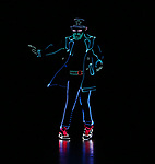 """Cast of Light Balance from the cast of Broadway's """"The Illusionists—Magic of the Holidays"""" on stage for a press preview at the Marquis Theatre  on November 27, 2018 in New York City."""