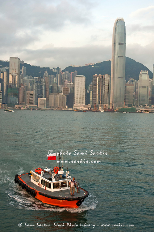 Skyline across the harbor from Kowloon in the morning, Hong Kong, China.