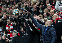 Liverpool fans catch a ball <br /> <br /> Photographer Alex Dodd/CameraSport<br /> <br /> UEFA Champions League Group E - Liverpool v Napoli - Wednesday 27th November 2019 - Anfield - Liverpool<br />  <br /> World Copyright © 2018 CameraSport. All rights reserved. 43 Linden Ave. Countesthorpe. Leicester. England. LE8 5PG - Tel: +44 (0) 116 277 4147 - admin@camerasport.com - www.camerasport.com