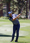 Aaron Rodgers swings during the ACC Golf Tournament at Edgewood Tahoe Golf Course in South Lake Tahoe on Sunday, July 14, 2019.