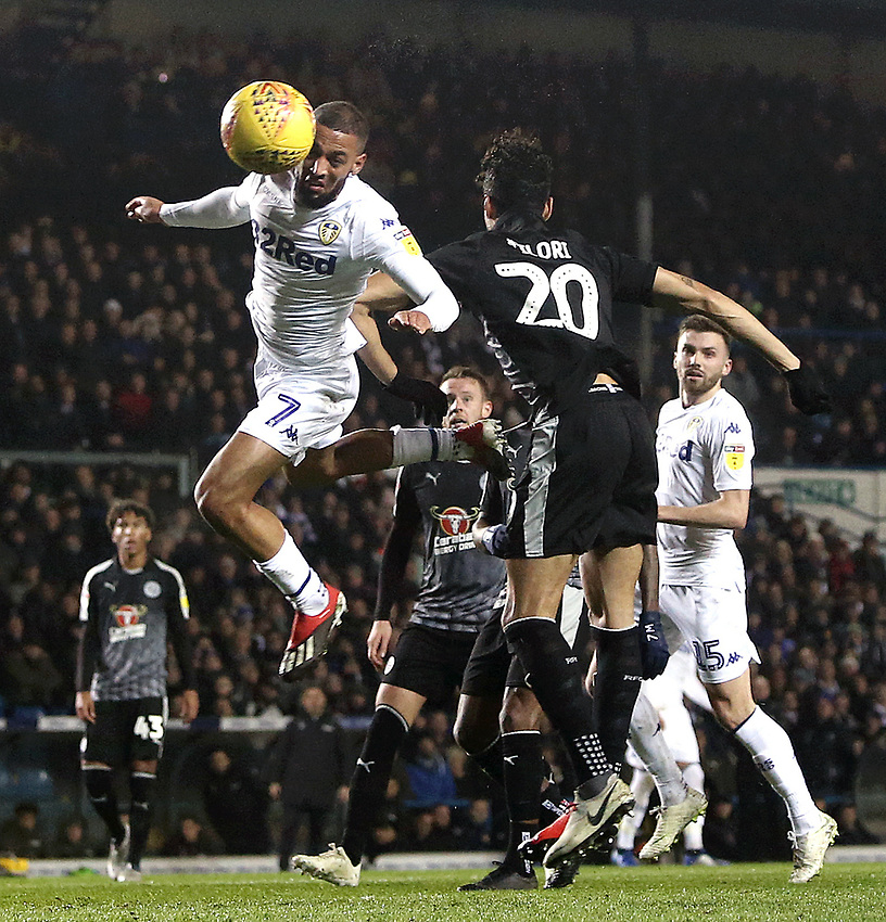 Leeds United's Kemar Roofe heads wide late in the first half under pressure from Reading's Tiago Ilori<br /> <br /> Photographer Rich Linley/CameraSport<br /> <br /> The EFL Sky Bet Championship - Leeds United v Reading - Tuesday 27th November 2018 - Elland Road - Leeds<br /> <br /> World Copyright © 2018 CameraSport. All rights reserved. 43 Linden Ave. Countesthorpe. Leicester. England. LE8 5PG - Tel: +44 (0) 116 277 4147 - admin@camerasport.com - www.camerasport.com