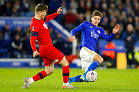 4th January 2020; King Power Stadium, Leicester, Midlands, England; English FA Cup Football, Leicester City versus Wigan Athletic; Dennis Praet of Leicester City tackles Lee Evans of Wigan Athletic - Strictly Editorial Use Only. No use with unauthorized audio, video, data, fixture lists, club/league logos or 'live' services. Online in-match use limited to 120 images, no video emulation. No use in betting, games or single club/league/player publications