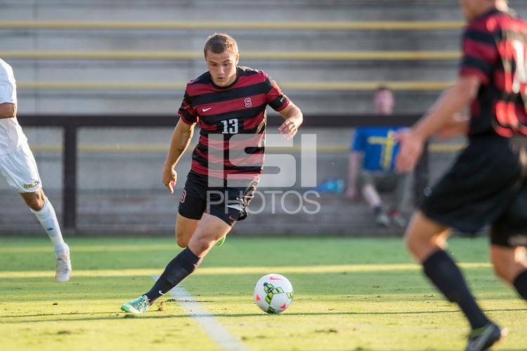 STANFORD, CA - August 19, 2014: Stanford forward Jordan Morris (13) during the Stanford vs CSU Bakersfield men's soccer match in Stanford, California. Final score, Stanford 1, CSU Bakersfield 0.