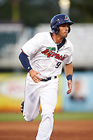 Fort Myers Miracle right fielder Chad Christensen (9) running the bases during a game against the Brevard County Manatees on April 13, 2016 at Hammond Stadium in Fort Myers, Florida.  Fort Myers defeated Brevard County 3-0.  (Mike Janes/Four Seam Images)