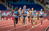 Lynsey SHARP of GBR & Habitam ALEMU of Ethiopia race towards the finish line in the women's 800 metres during the Muller Grand Prix Birmingham Athletics at Alexandra Stadium, Birmingham, England on 20 August 2017. Photo by Andy Rowland.