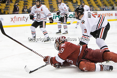 Mike Seward (Harvard - 18), Josh Manson (Northeastern - 3) - The Harvard University Crimson defeated the Northeastern University Huskies 3-2 in the 2012 Beanpot consolation game on Monday, February 13, 2012, at TD Garden in Boston, Massachusetts.