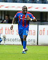 CALEY'S GREGORY TADE CELEBRATES AFTER HE  SCORES INVERNESS' FOURTH GOAL.