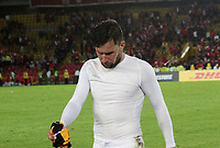 BOGOTA -COLOMBIA, 23-05-2017.  Independiente Santa Fe players leave the field with sadness to be eliminated from the Copa Libertadores of America when losing with Strongest of Bolivia. Action game between Independiente Santa Fe of Colombia  and  The Strongest of Bolivia  during match for the date 6  for the Conmebol Libertadores Bridgestone Cup 2017 played at Nemesio Camacho El Campin stadium . Photo:VizzorImage / Felipe Caicedo  / Staff