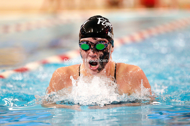 Southbury, CT- 29 October 2015-102915CM05- Pomperaug's Gracie Regan competes in the 200 yard IM against New Milford on Thursday. Regan won the event.     Christopher Massa Republican-American