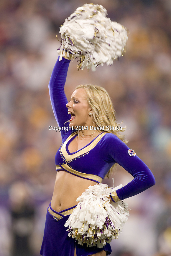 Minnesota Vikings cheerleader during an NFL football game against the Chicago Bears at the Hubert H. Humphrey Metrodome on September 26, 2004 in Minneapolis, Minnesota. The Vikings beat the Bears 27-22. (Photo by David Stluka)