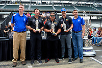 Verizon IndyCar Series<br /> Indianapolis 500 Drivers Meeting<br /> Indianapolis Motor Speedway, Indianapolis, IN USA<br /> Saturday 27 May 2017<br /> &quot;Baby Borg&quot; presentation to Alexander Rossi, Andretti Herta Autosport with Curb-Agajanian Honda and owners Byan Hereta and Michael Andretti.<br /> World Copyright: F. Peirce Williams