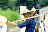 A man coming back from the fields in Guilin, China.
