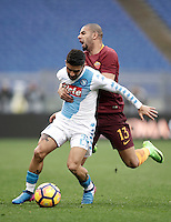 Napoli&rsquo;s Lorenzo Insigne, left, is challenged by Roma&rsquo;s Bruno Peres during the Italian Serie A football match between Roma and Napoli at Rome's Olympic stadium, 4 March 2017. <br /> UPDATE IMAGES PRESS/Isabella Bonotto