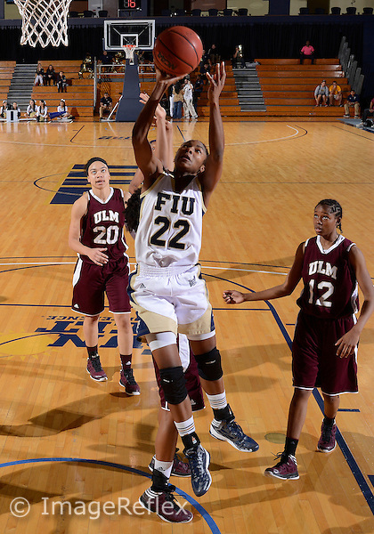 Florida International University guard Jerica Coley (22) plays against the University of Louisiana Monroe, which won the game 71-61 on February 2, 2013 at Miami, Florida. .