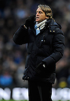 Roberto Mancini manager of Manchester City reacts on the touchline - Barclays Premier League - Manchester City vs Fulham - Etihad Stadium - Manchester - 13/01/13 - Picture Simon Bellis/Sportimage .Manchester 19/1/2013 .Football Calcio 2012/2013 Premier League.Manchester City Vs Fulham .Foto Insidefoto .ITALY ONLY