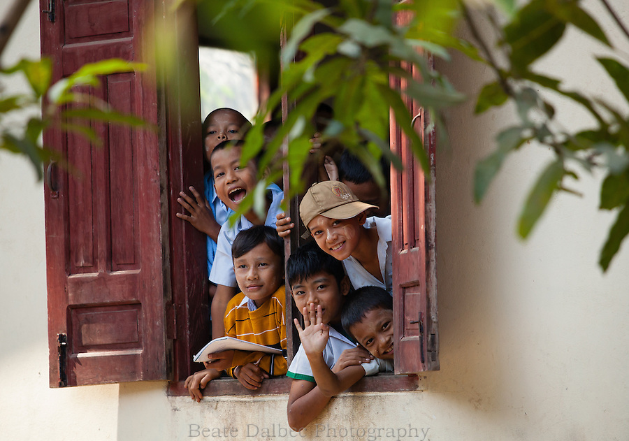Schoolchildren in a small village in Myanmar