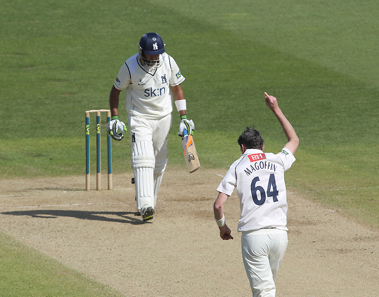 Sussex's Steve Magoffin celebrates taking the wicket of Warwickshire's Jeetan Patel <br /><br />Photographer Mick Walker/CameraSport<br /><br />County Cricket - Liverpool Victoria County Championship - Division One - Warwickshire  v  Sussex - Day 3 - Tuesday 15th April 2014 - Edgbaston - Birmingham<br /><br />&copy; CameraSport - 43 Linden Ave. Countesthorpe. Leicester. England. LE8 5PG - Tel: +44 (0) 116 277 4147 - admin@camerasport.com - www.camerasport.com