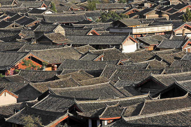 Traditional tile roofs of old Lijiang, Chinese