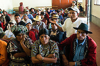 Members of the AJR question their representatives at a meeting organised by the AJR and the Guatemalan human rights group CALDH, reporting on developments with the legal process following recent arrests in the genocide cases. <br /> The AJR is an association of survivors of massacres committed during the armed conflict<br /> Nebaq, El Quiche, Guatemala, October 2011.
