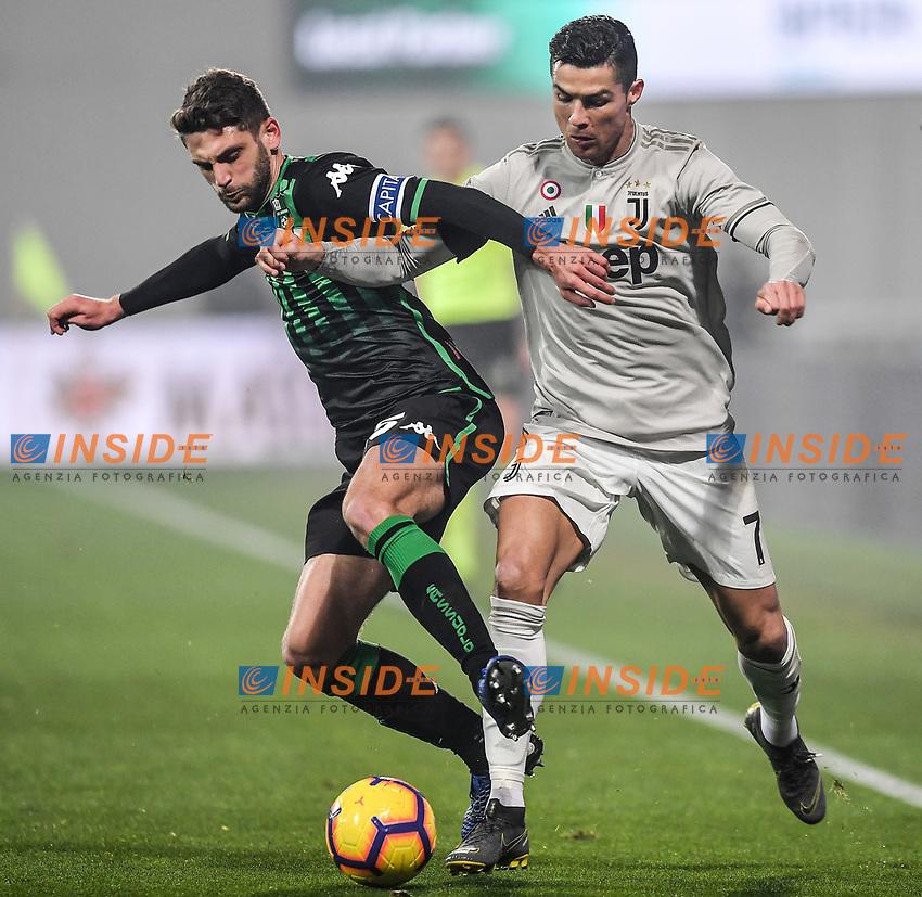 Domenico Berardi Sassuolo and Cristiano Ronaldo Juventus.<br /> Reggio Emilia 10-2-2019 Stadio Mapei, Football Serie A 2018/2019 Sassuolo - Juventus<br /> Foto Andrea Staccioli / Insidefoto
