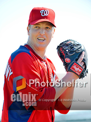 24 February 2012: Washington Nationals' pitcher Tom Gorzelanny warms up at the Carl Barger Baseball Complex in Viera, Florida. Mandatory Credit: Ed Wolfstein Photo