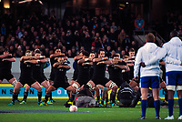 The All Blacks perform the haka during the Steinlager Series international rugby match between the New Zealand All Blacks and France at Eden Park in Auckland, New Zealand on Saturday, 9 June 2018. Photo: Dave Lintott / lintottphoto.co.nz