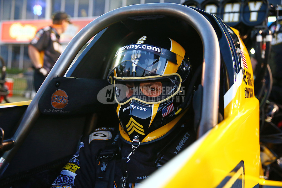 Apr 25, 2014; Baytown, TX, USA; NHRA top fuel dragster driver Tony Schumacher during qualifying for the Spring Nationals at Royal Purple Raceway. Mandatory Credit: Mark J. Rebilas-