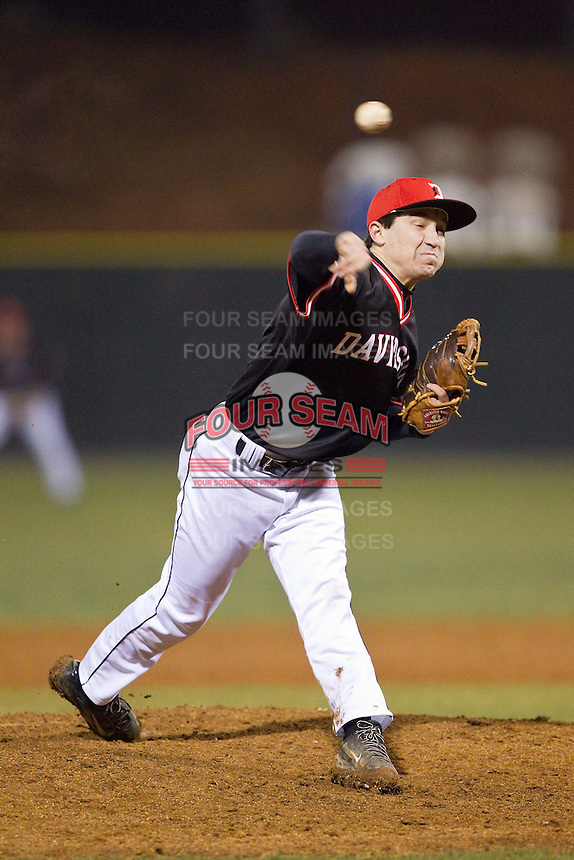 Davidson Wildcats relief pitcher Michael Goldberg (4) in action against the Wake Forest Demon Deacons at Wilson Field on March 19, 2014 in Davidson, North Carolina.  The Wildcats defeated the Demon Deacons 7-6.  (Brian Westerholt/Four Seam Images)