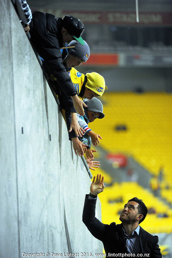 The injured Nehe Milner-Skudder greets fans during the Super Rugby match between the Hurricanes and Reds at Westpac Stadium, Wellington, New Zealand on Saturday, 14 May 2016. Photo: Dave Lintott / lintottphoto.co.nz