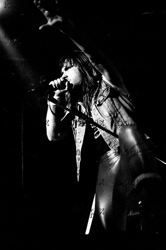 Iron Maiden - new vocalist Bruce Dickinson - performing his first ever concert with the band on the Killer World Tour at the Palasport in Bologna Italy - 26 Oct 1981.  Photo credit: PG Brunelli/IconicPix